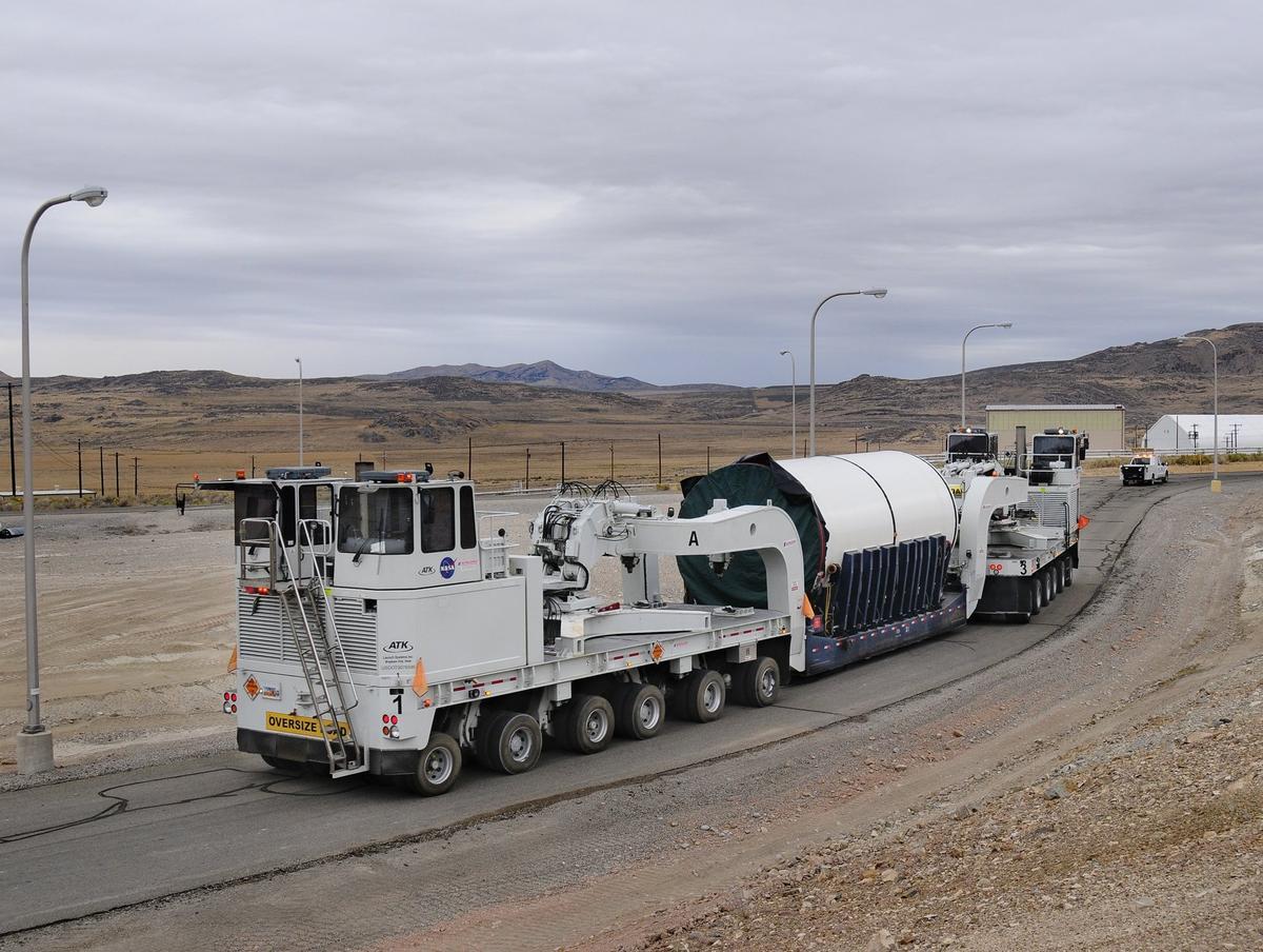 SLS solid rocket booster segment being moved (Image: ATK)