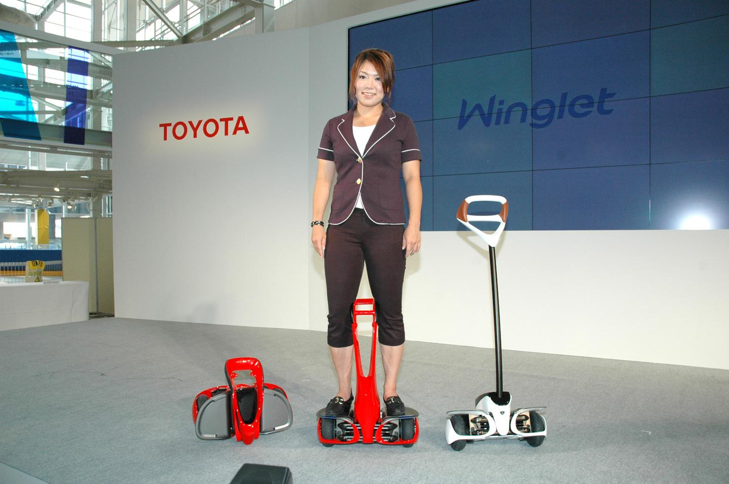 Toyota's Winglets are like a miniature Segway, with the largest weighing around 12kg and the smallest 9.9 kg