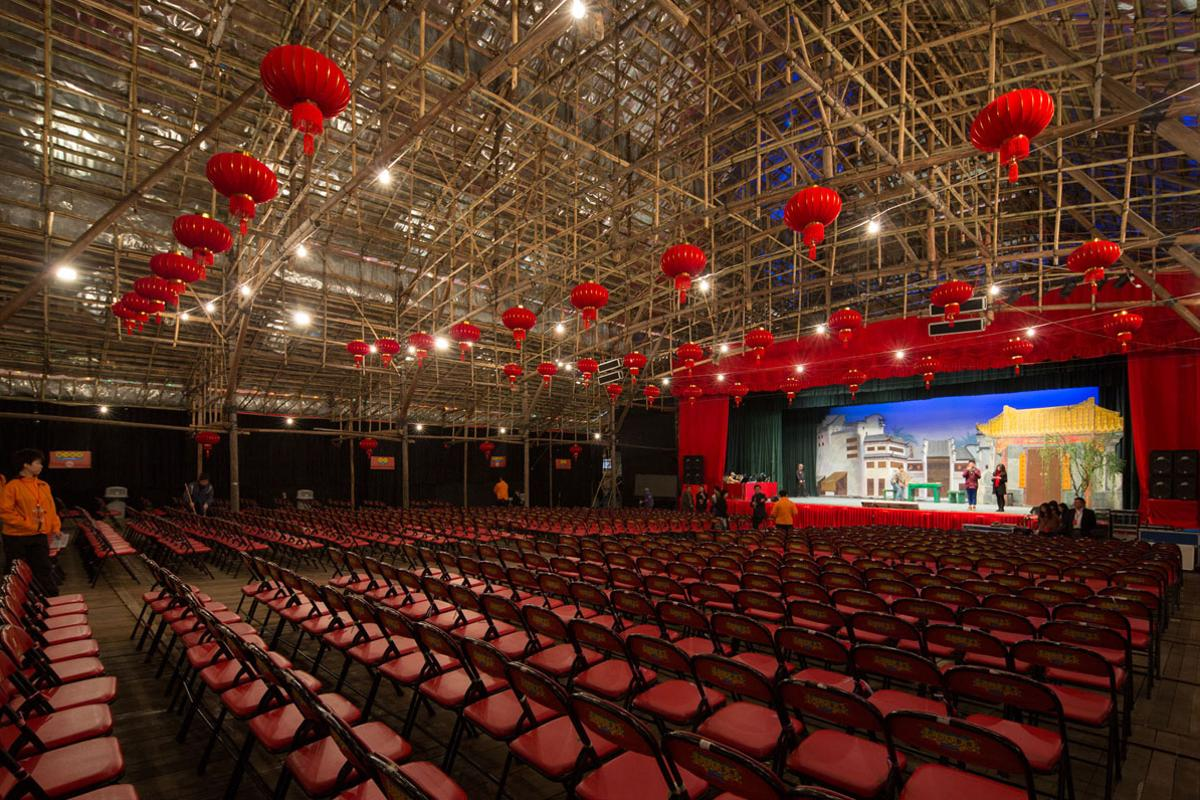The theater stands on the site of the planned Xiqu Centre opera house