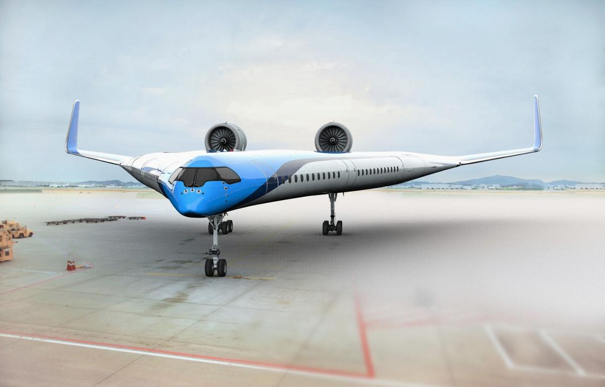 The Flying-V concept is55 meterslong and 17 meters high, with a wingspan of 65 meters