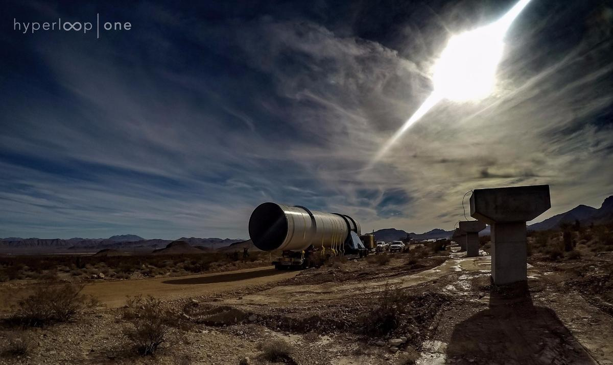 The Hyperloop One test track under construction in Nevada