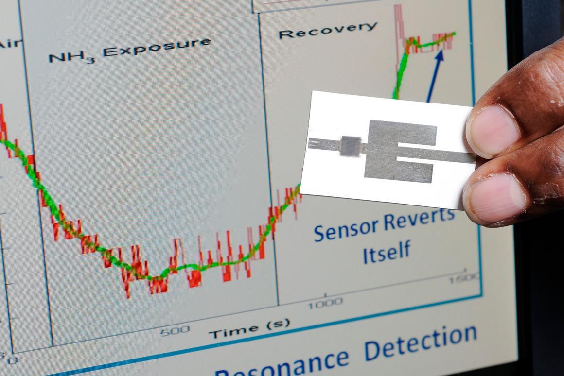 Wireless explosives sensor that has been inkjet-printed on photographic paper (Photo: Greg Meek, Georgia Tech)