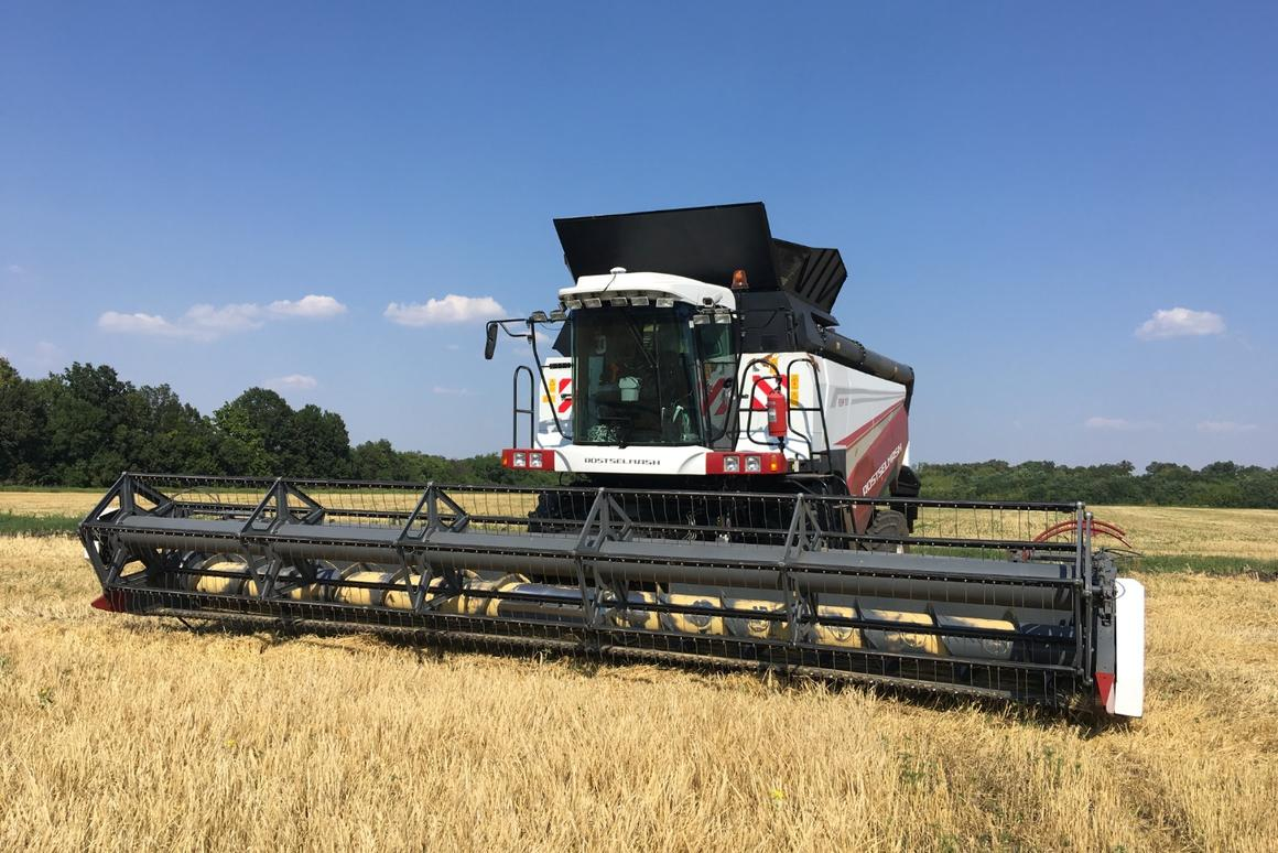 Autonomous combine set to harvest Russian fields