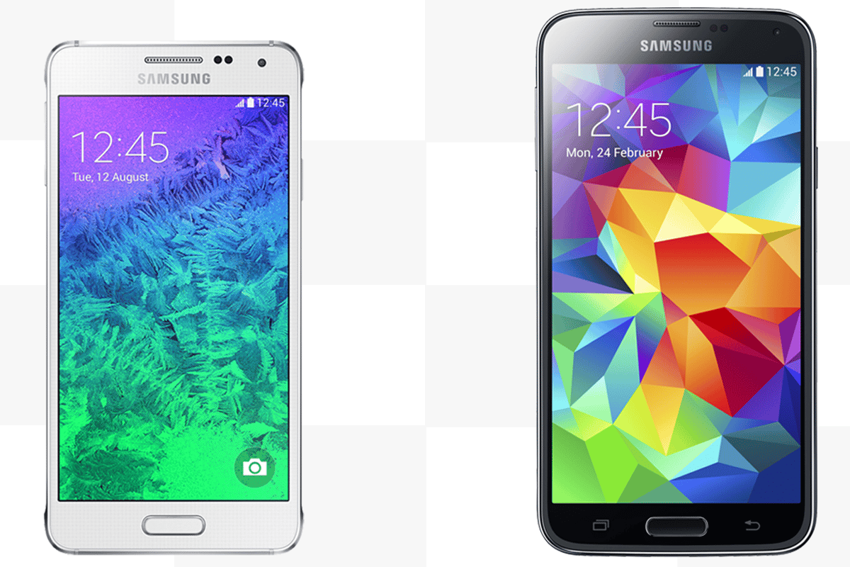While the Samsung Galaxy S5 (right) focuses on high-end specs, the Galaxy Alpha places an emphasis on compact style