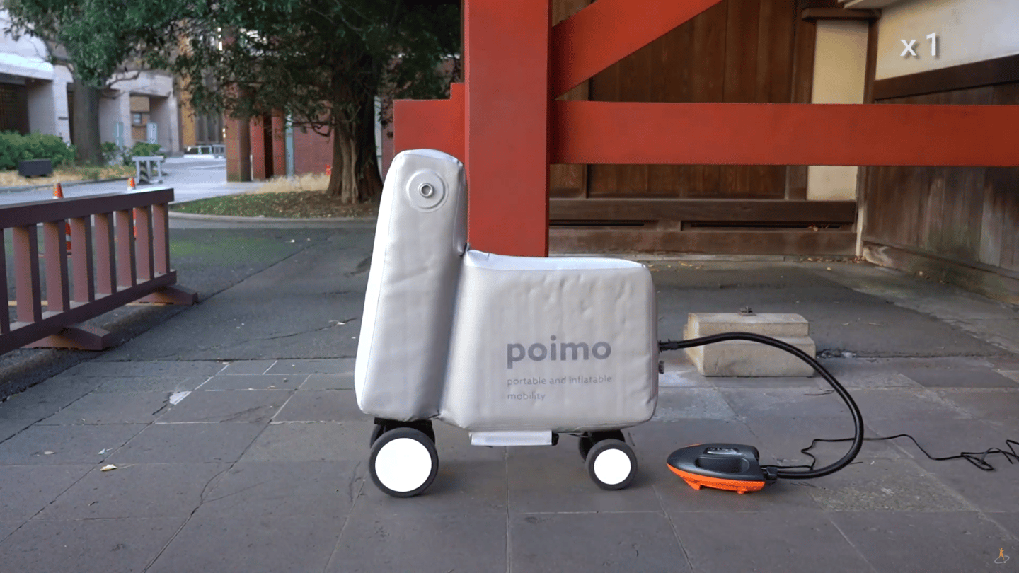 The Poimo portable ebike prototype currently needs an external air compressor, but a production model would have that built in