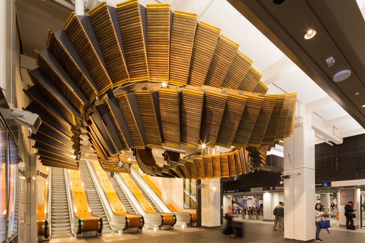 The Interloop sculpture, at Wynyard Station in Sydney