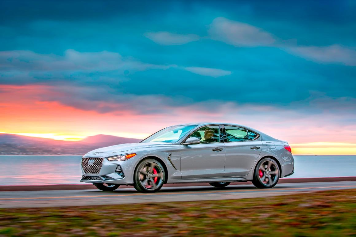 The new G70 is performance-focused and has an updated design based on the other G sedans in the Genesis line, emphasizing a longer hood through shorter overhangs and higher beltline for a more athletic appearance
