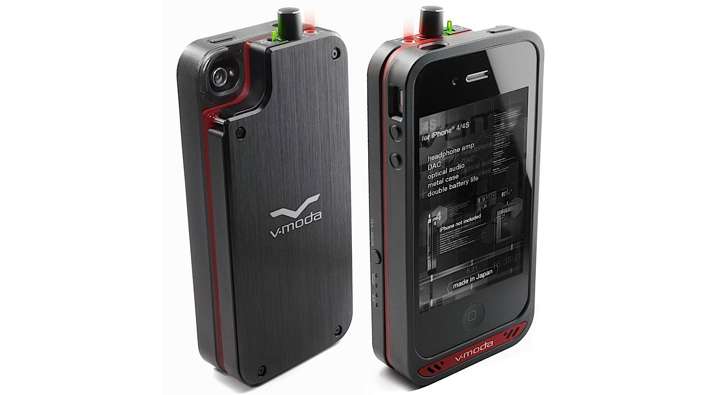 V-MODA's VAMP for iPhone 4/4S features an integrated amp, DAC (Digital-to-Analog Converter) and battery pack