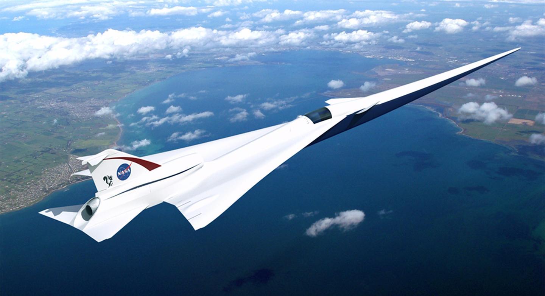 Artist's concept ofLockheed Martin's Quiet Supersonic Technology (QueSST) X-plane
