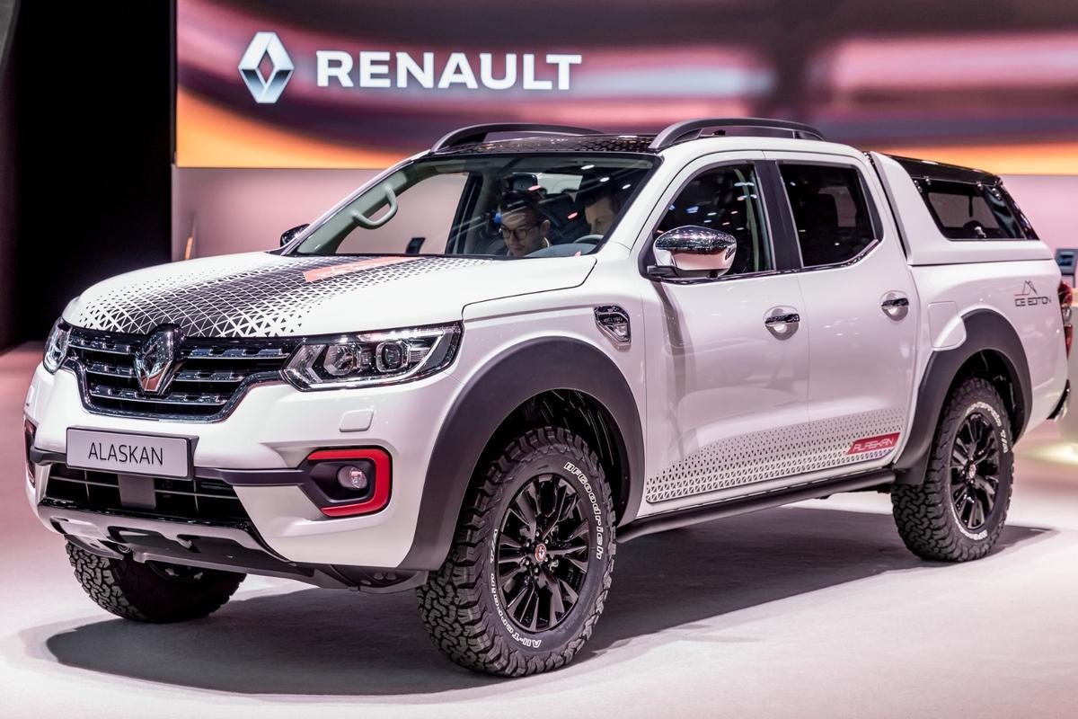 The Renault Alaskan Ice edition enhances the truck's design with special badging, ice-white coloring, and black and red details