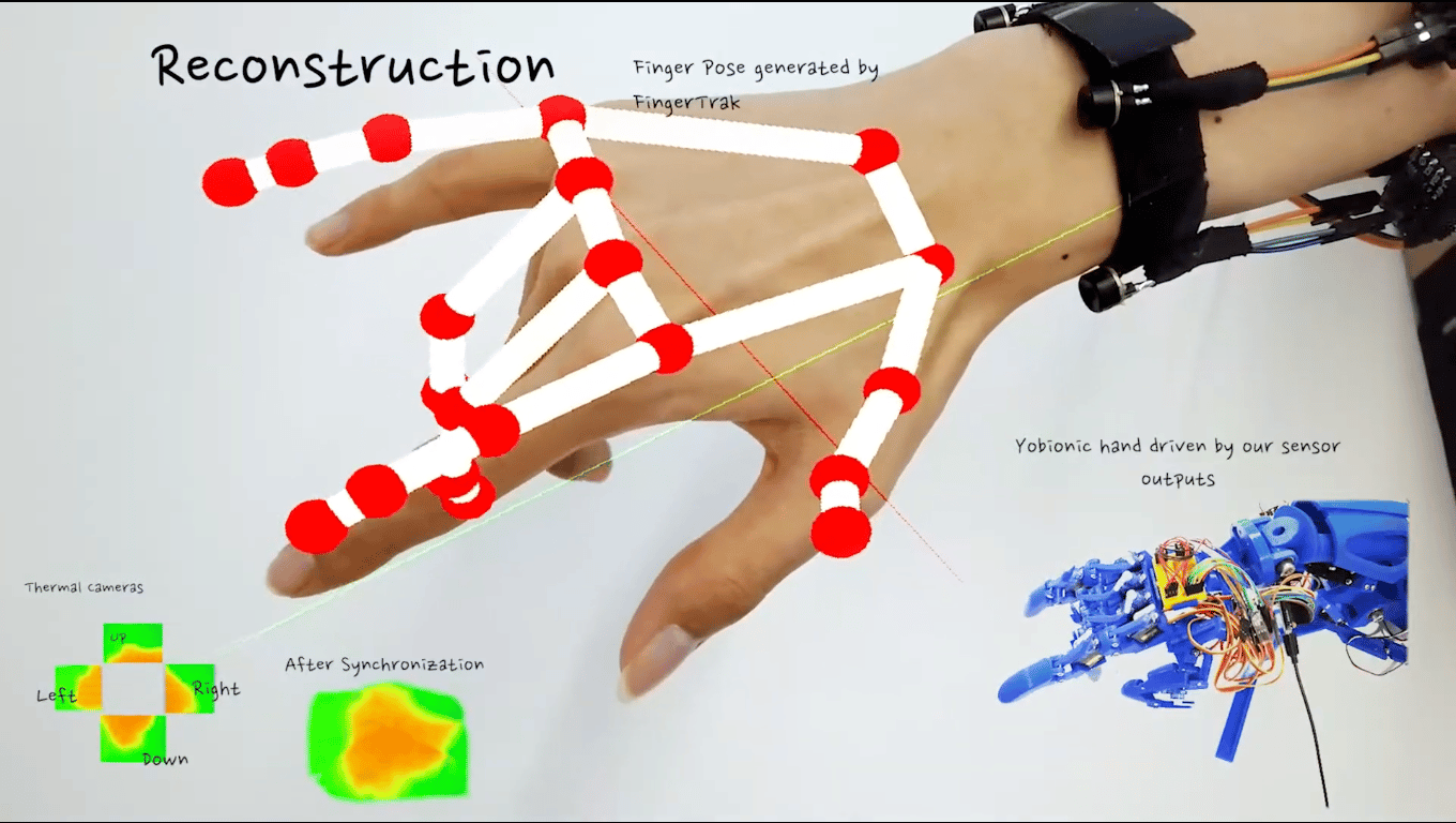 A digital model overlaid on a real hand, showing just how well the FingerTrak system can predict the positions of a wearer's fingers. At the bottom right, a robot hand copies the wearer