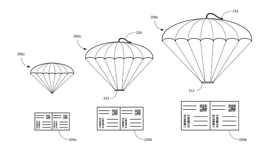 The shipping label parachutes could come in a range of sizes, depending on the size and fragility of the package