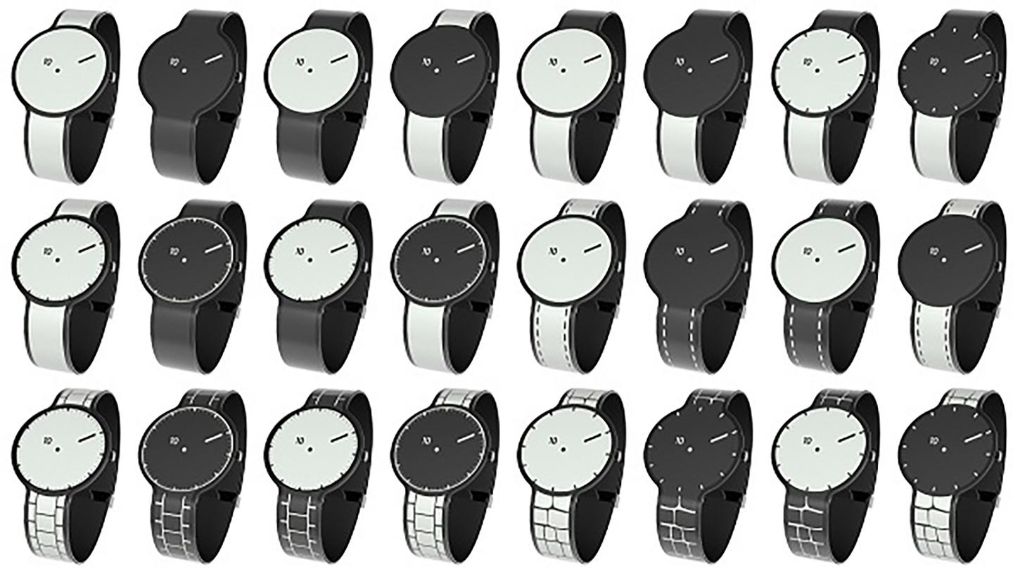 The FES Watch will ship with 24 designs which you can switch between by pressing the physical button on the side of the device