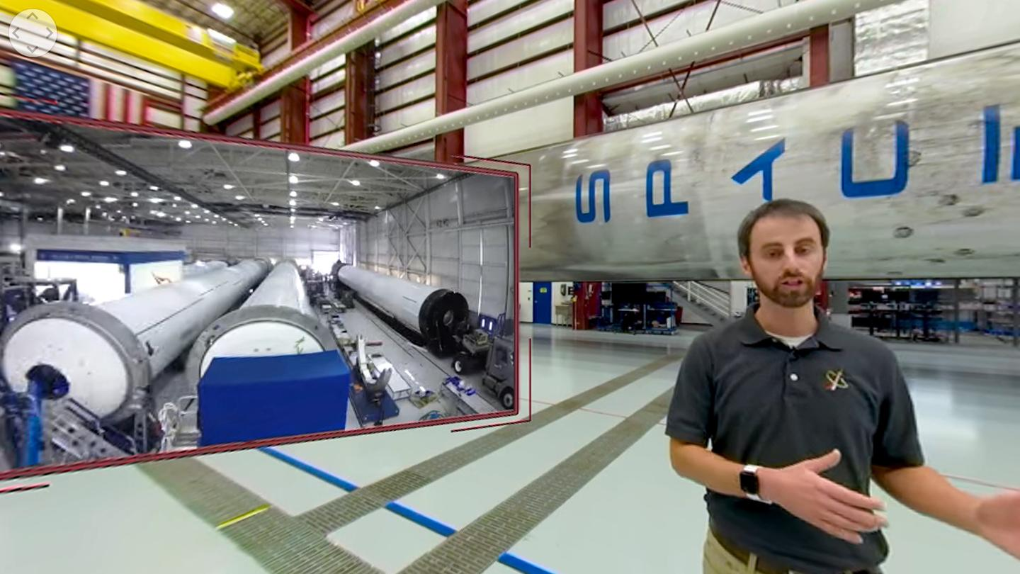 A still from a NASA VR tour showing a Falcon Core Stage as NASA's Kennedy Space Center