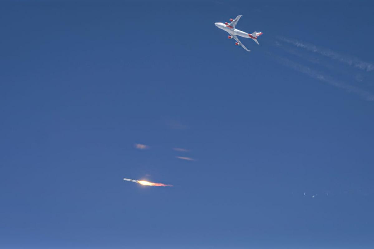 Virgin Orbit's LauncherOne rocket ignites after being launched from a modified 747