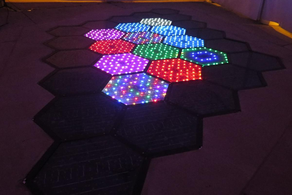 Solar Roadways has programmed a few random LED patterns, but the City of Sandpoint plans to allow the public to interact with andchange the displays