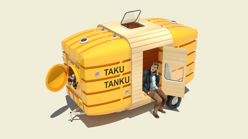The Taku-Tanku is a tiny house made from two water tanks