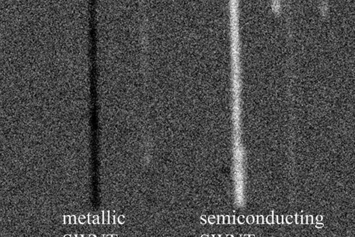 """A new screening tool which uses a process known as """"transient absorption"""" to detect metallic in single-walled carbon nanotubes (Image: Weldon School of Biomedical Engineering, Purdue University)"""