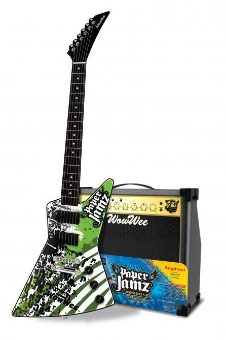 The Paper Jamz 1-inch thick guitar - no strings, just strum the surface - and cardboard amp