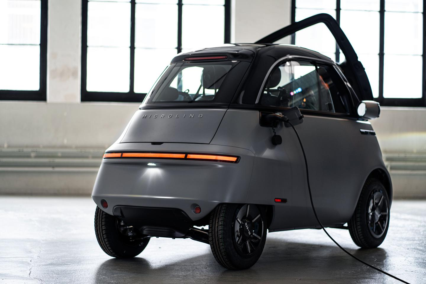The Microlino 2.0 has a per-charge range of 125 km with a 8-kWh battery, or 200 km with a 14.4-kWh option