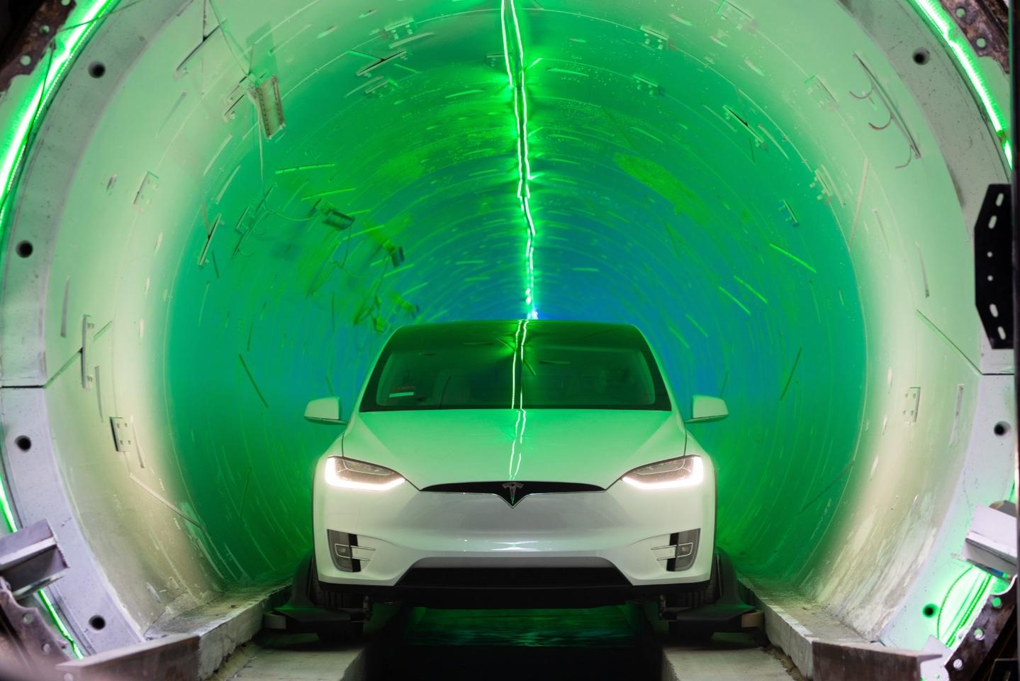 A Tesla emerges from The Boring Company's test tunnel