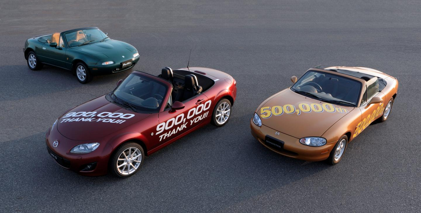 Three generations of Mazda MX-5