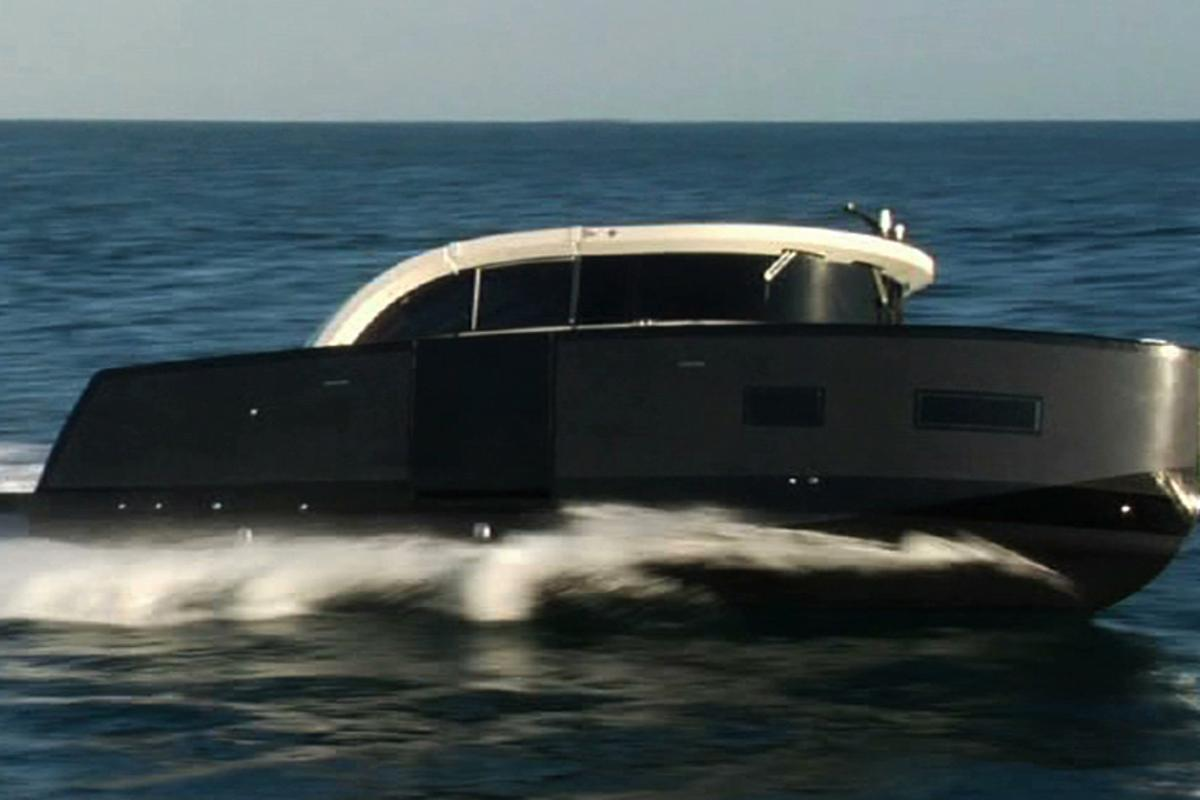 Its creators say the Oronero is the world's first limousine yacht tender with a convertible hard-top roof