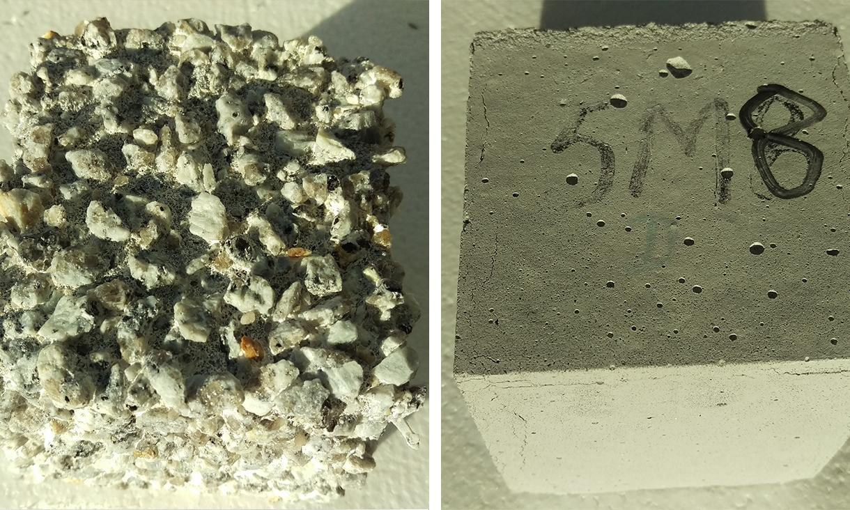 The team's new cement-free concrete (right) alongside conventional but corroded Portland cement concrete