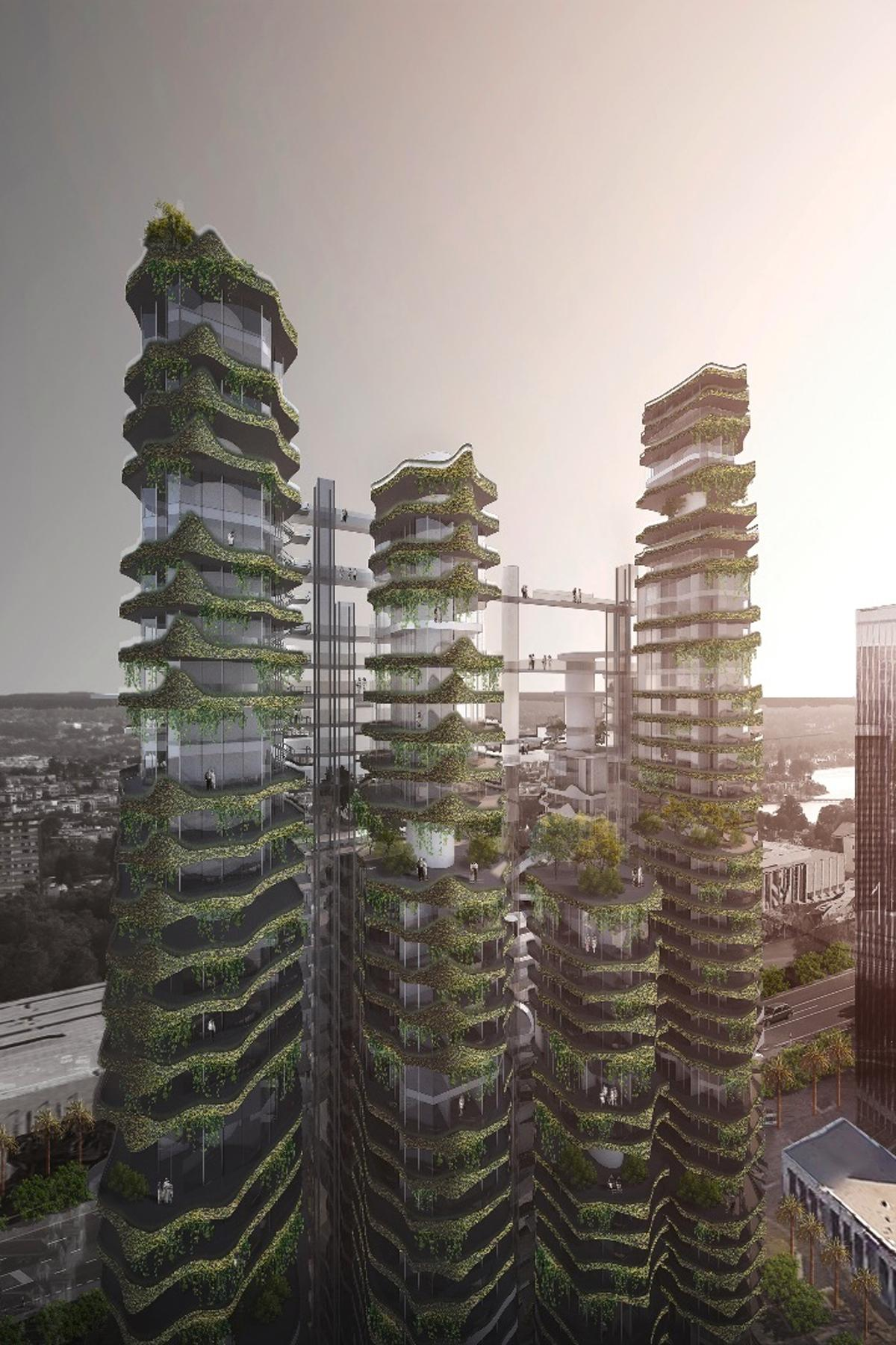 Nine interconnected towers dotted with greenery and public spaces would provide a city above the streets