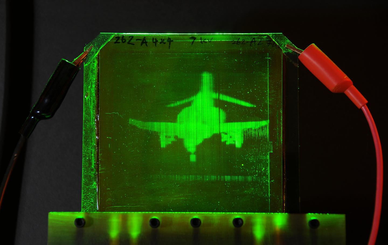 A refreshable, holographic image of an F-4 Phantom jet, created using the new system (Photo: University of Arizona)