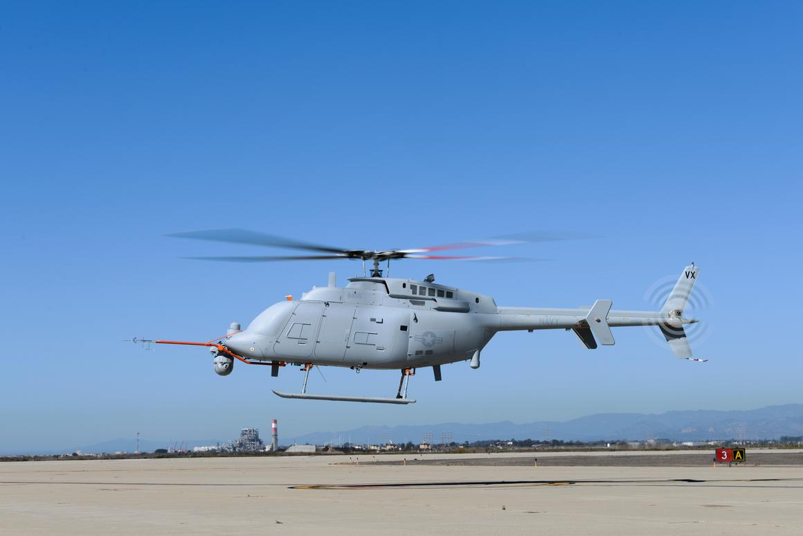 The MQ-8C Fire Scout unmanned helicopter's maiden flight lasted seven minutes (Photo: Alan Radecki/Northrop Grumman)