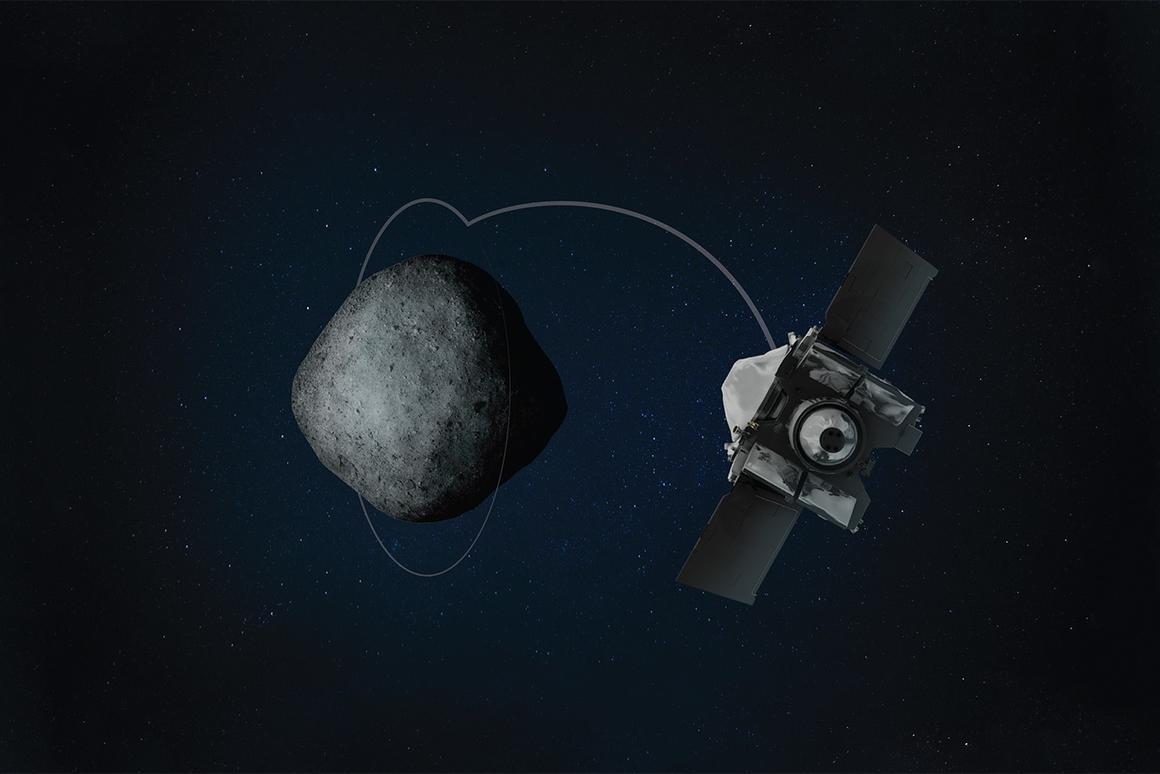 Rendering of OSIRIS-REx in orbit around the asteroid Bennu
