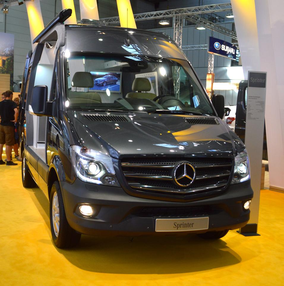 The Sprinter on display featured a four-cylinder diesel engine