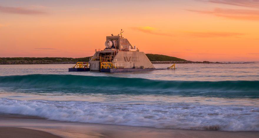 "Wave Swell Energy's 200-kilowatt ""blowhole"" energy demonstrator has successfully been installed off the coast of King Island, Tasmania"