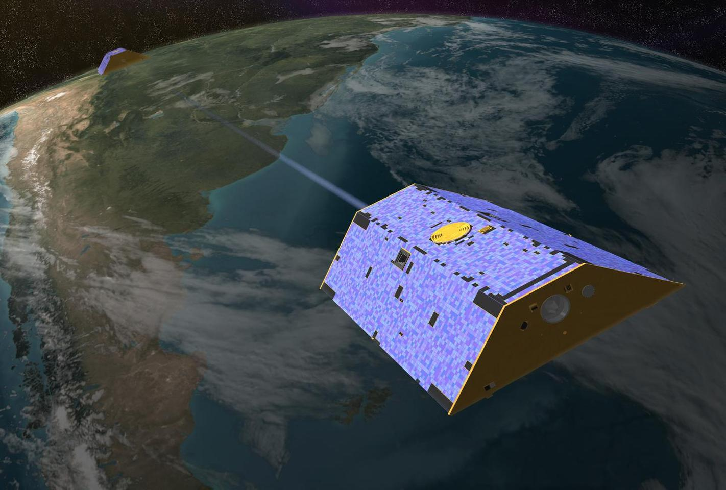 Artist's concept of the twin Gravity Recovery and Climate Experiment (GRACE) satellites in orbit