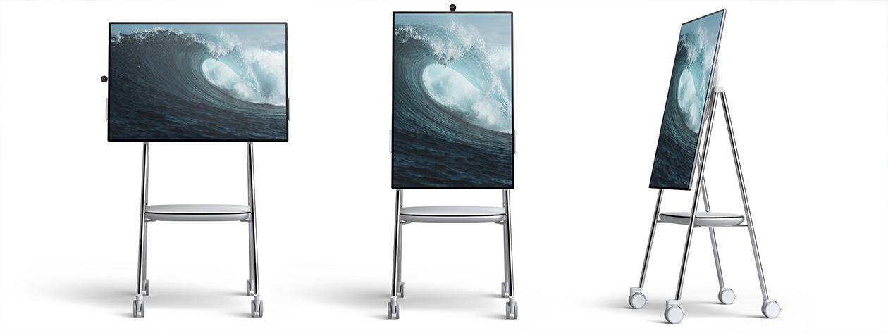 The Surface Hub 2 can easily pivot between portrait and landscape modes