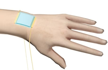 A new stretchable electronic skin (blue patch) can detect directional pressure (Image: American Chemical Society)