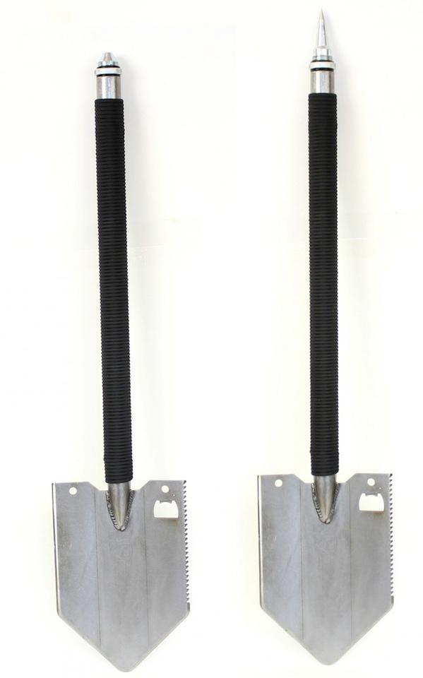 The design boasts a chromoly steel shovel head and threaded hollow steel tubular handle
