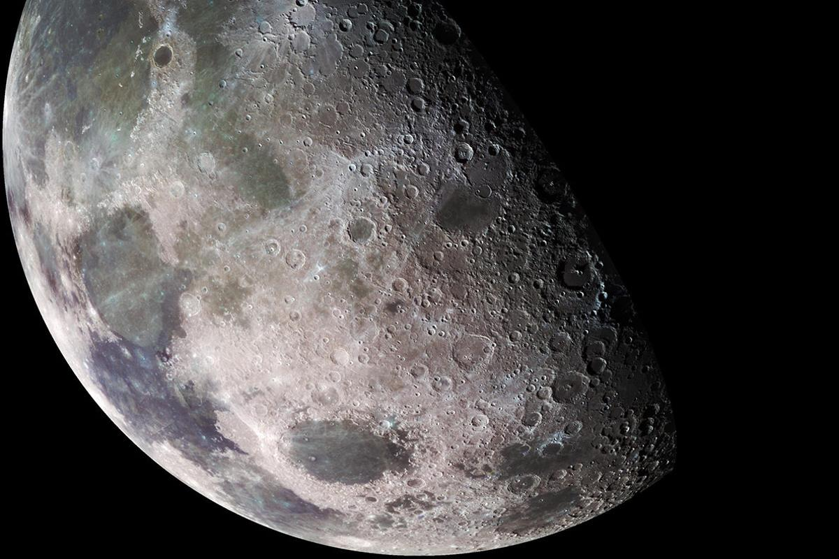 The Moon as seen by the Galileo deep-space probe in 1992