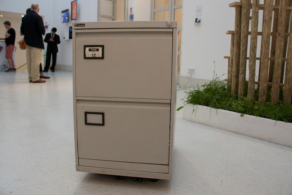 The cabinet is connected to a webcam via Bluetooth, which duly scans the room for movement (Photo: Jaap de Maat)