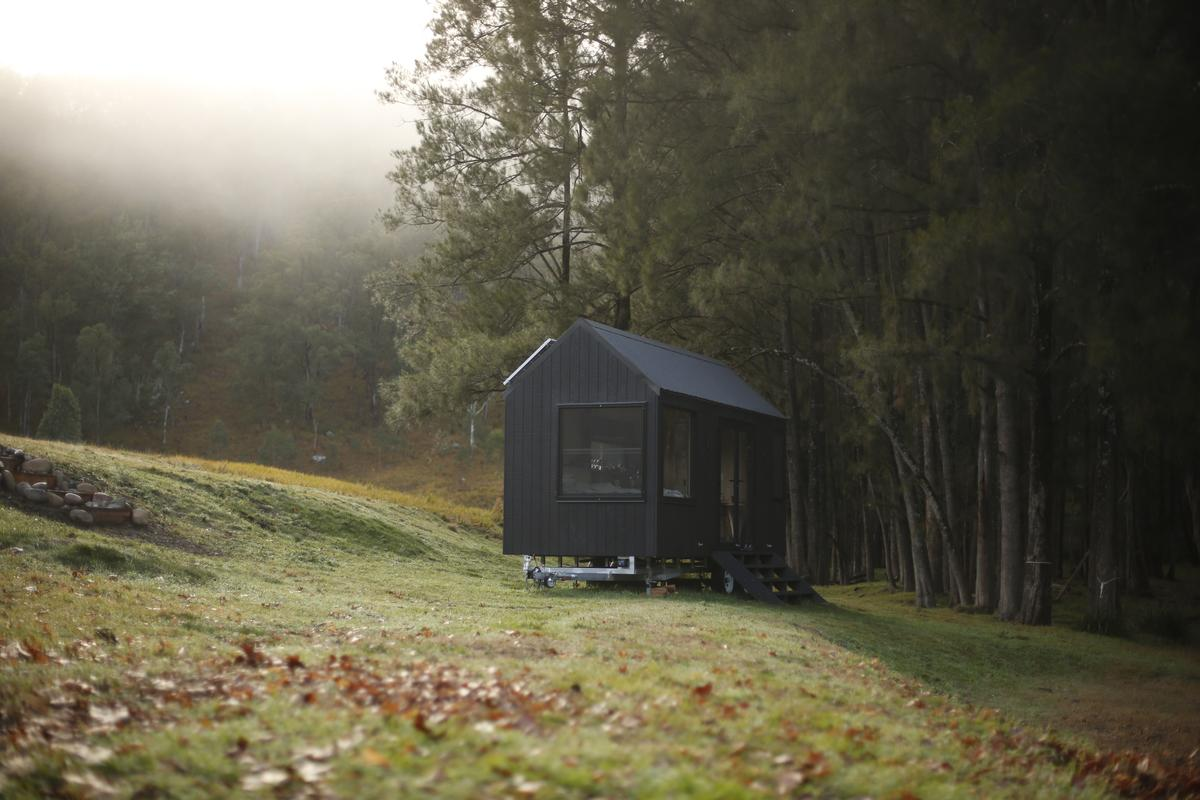 The Barrington Tops Cabin is based on a double-axle trailer