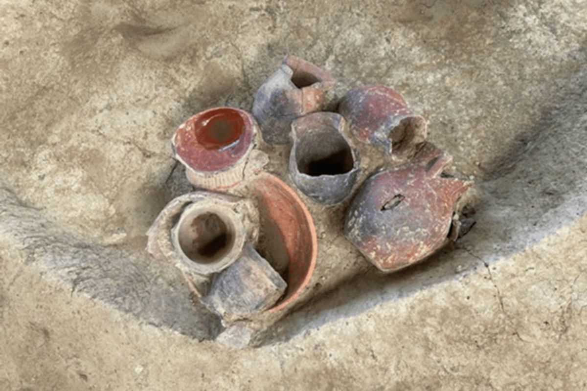 Some of the pottery discovered in the platform mound at the Qiaotou site that has been found to have once contained an early beer-like drink