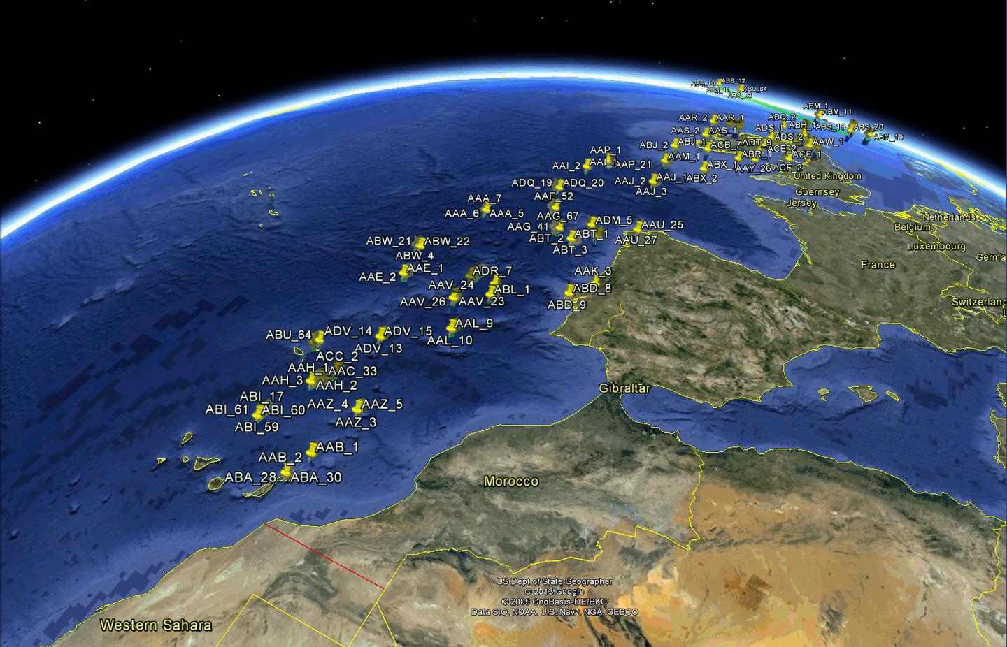 ESA's Proba-V satellite pinpointed the location of aircraft in flight over the Atlantic approach to western Europe and the UK through their ADS-B signals
