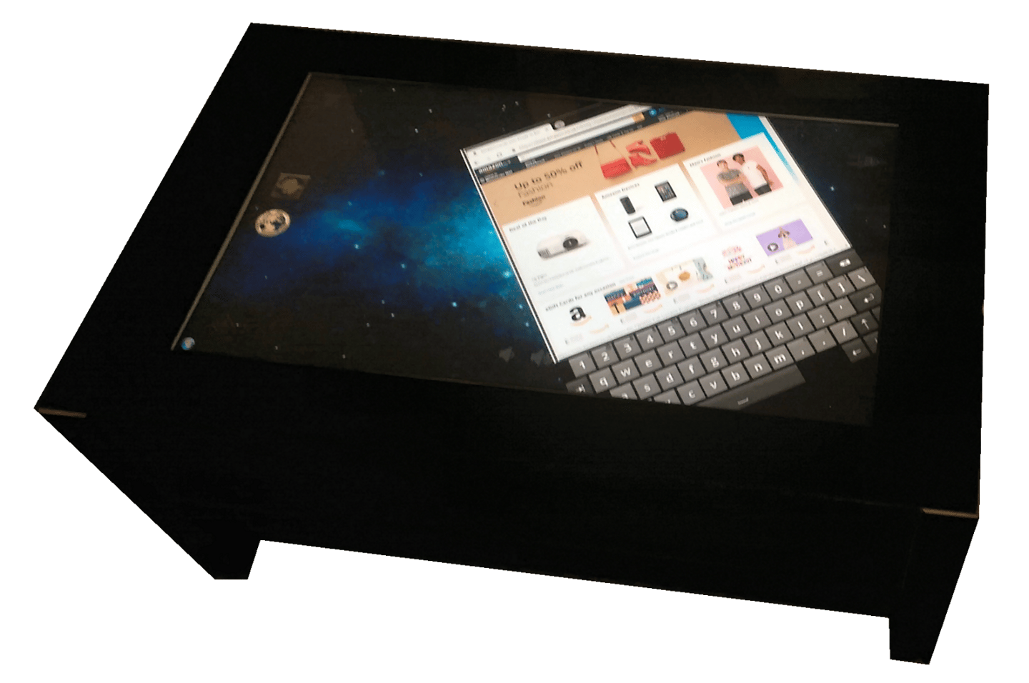 The Jigabyte coffee table is topped by a 32 inch capacitive touch display