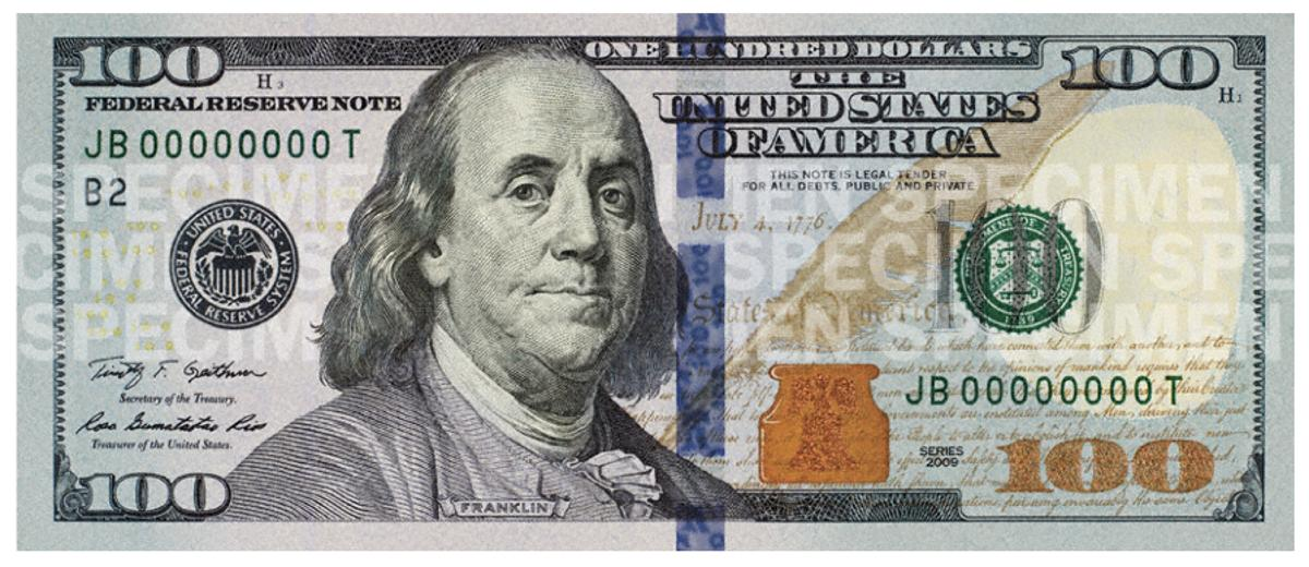 The new $100 bill will enter circulation on Tuesday
