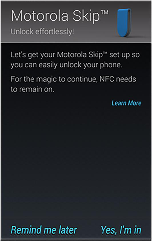 This is the NFC pairing page for the Moto Skip, according to Motorola's support documentation