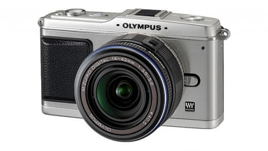 The Olympus E-P1 is a compact 12.3 megapixel camera with interchangeable lenses