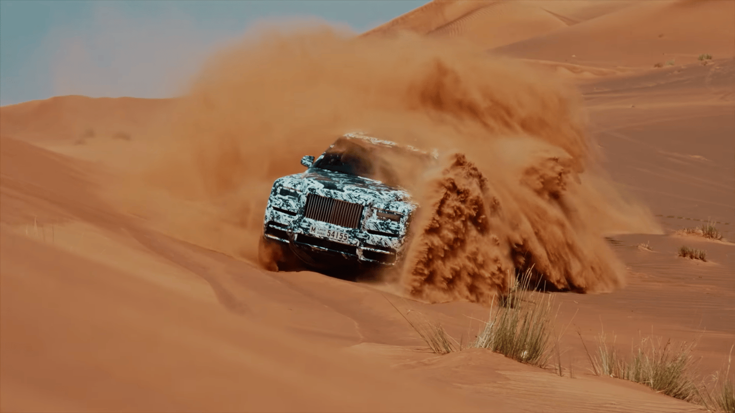 Rolls Royce's Project Cullinan going for a fang in the sand dunes