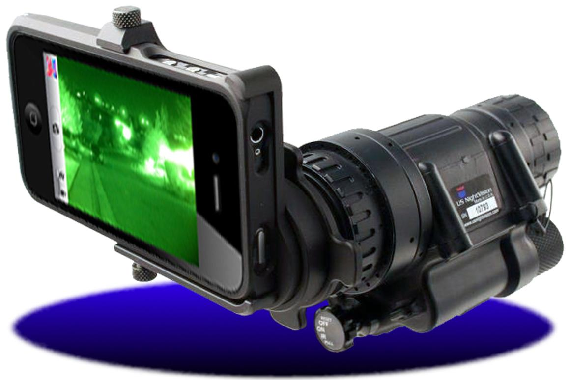 The Night Vision iPhone Adapter connects night vision scopes and iPhone 4 models