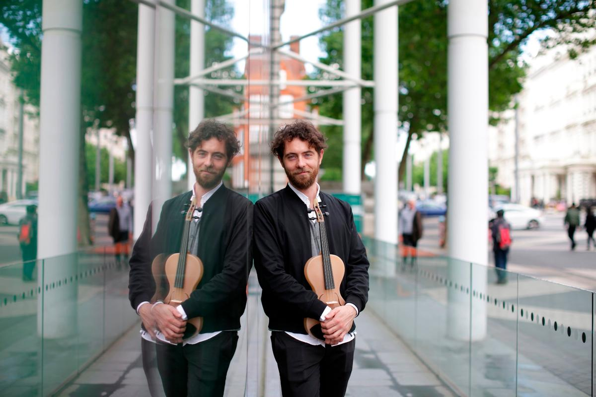 Luca Alessandrini with his prototype violin
